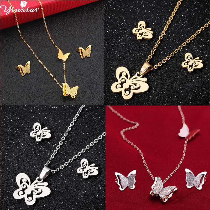 Yiustar Lucky Fashion Butterfly Bridesmaid Jewelry Sets Elegant Animal Stianless Steel Necklace/Earrings Women Girls Accessories