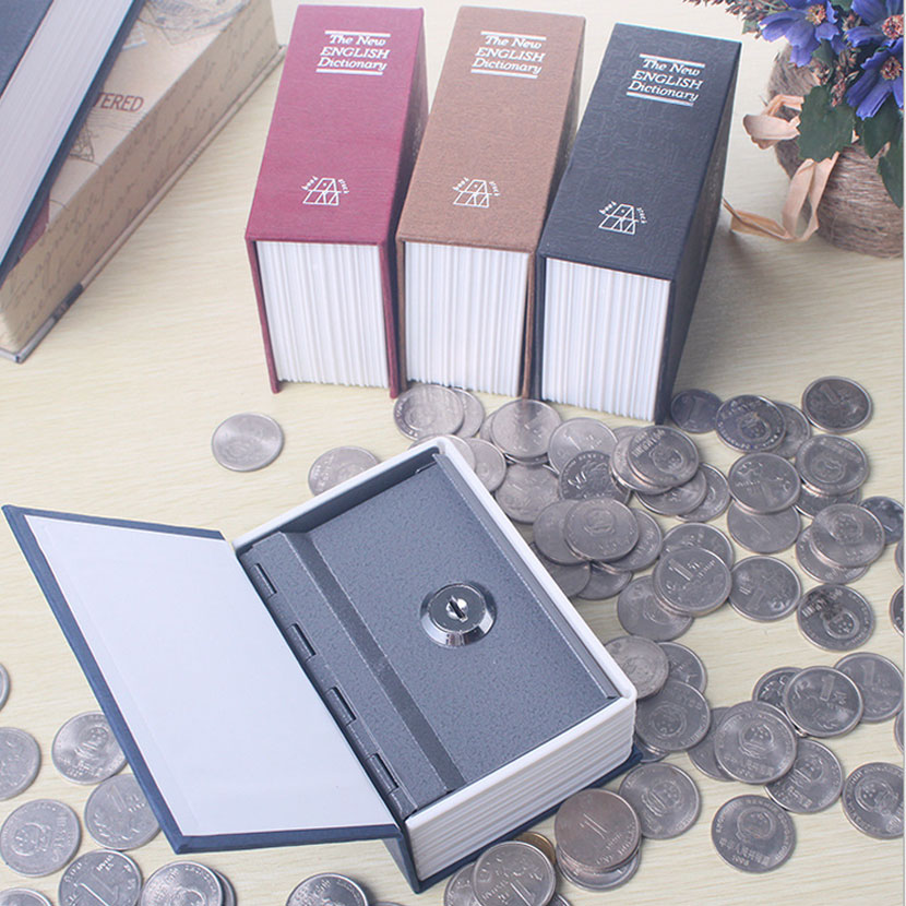 Steel Safe Box Dictionary Hidden Security Secret Coffer Strongbox Key Lock Safety Box Money Jewelry Storage Case New arrival size s hidden book safe box security lock key english dictionary strongbox steel home office travel phone money safes box