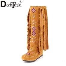Doratasia/Китайский стильный вышивка большой размер 34-48 добавить 2 вида меха женская обувь кистями осень Зимние Модные сапоги ботинки с высоким голенищем