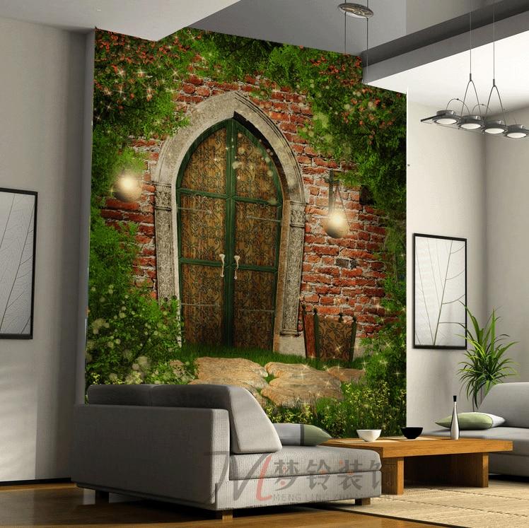 Free Shipping Luxury Retro Wallpaper Background Bow Doors