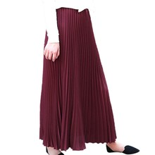 Women's solid color Skirt high waist pleated skirt Falda plisada color slido con cintura alta Jupe plissee taille haute#YL-25