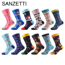 SANZETTI 12 pairs lot New Arrival Men s Combed Cotton Casual Crew Funny Socks Astronaut Kangaroo