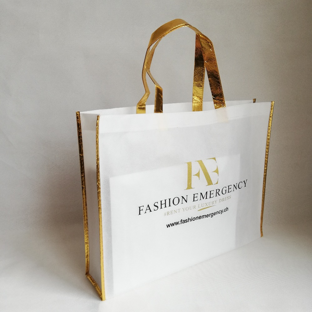 1000pcs lot 30x40x10cm Promotional Eco friendly Reusable Non Woven Shopping Tote Bags with Custom Printed Gold