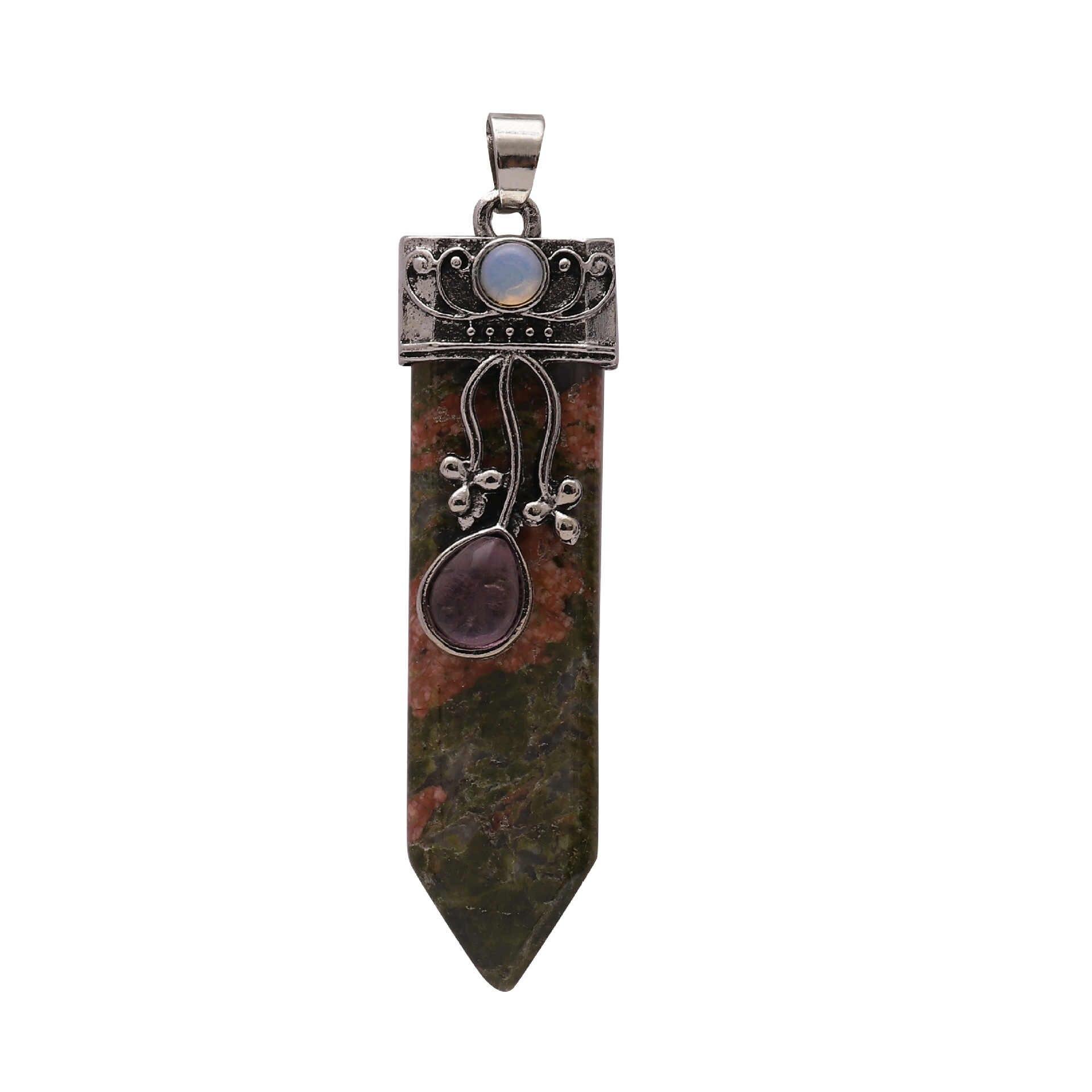 Vintage Silver Plated Healing Arrow ลูกตุ้มโอปอลคริสตัลธรรมชาติ Lapis Onyx Rose สีชมพูควอตซ์หินจี้แฟชั่นเครื่องประดับ