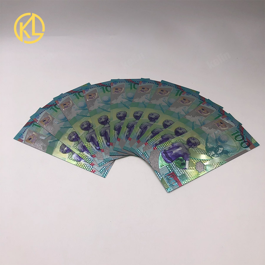 10pcs 2018 Russian 100 Ruble Silver plated Banknote Plastic sports tickets