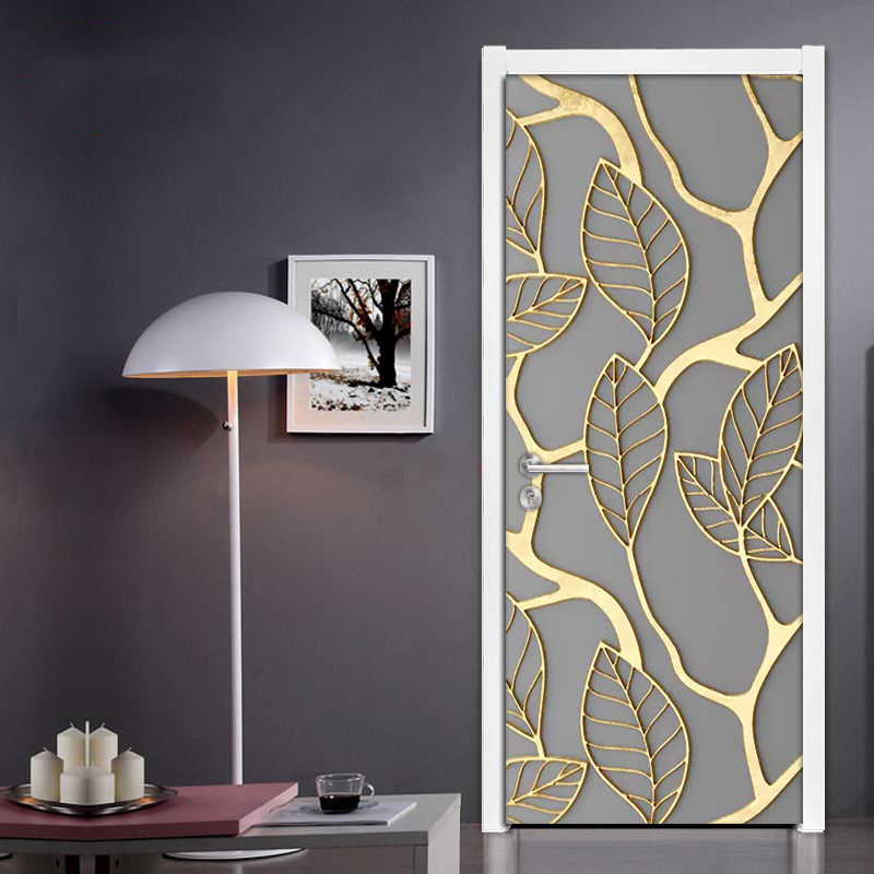 2Pcs/Set Golden Leaves 3D Door Sticker PVC Self-adhesive Waterproof Wallpaper Wall Decals Home Decor Living Room Bedroom Decor