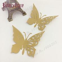 60pcs/lot DIY Wedding Table Decoration Paper Place Cards Laser Cut Butterfly Wine Glass For Party