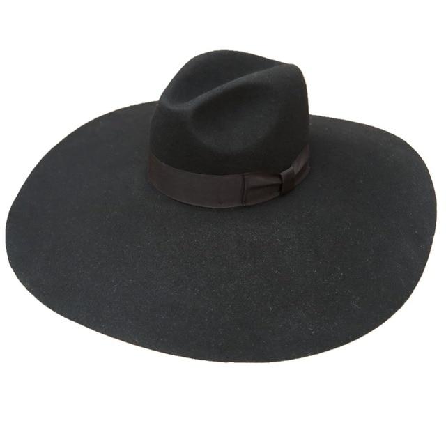 67c5940dc3523 Black Wool Felt Soft Extra Wide Large Brim Fashion Fedora Hat For Women 16cm