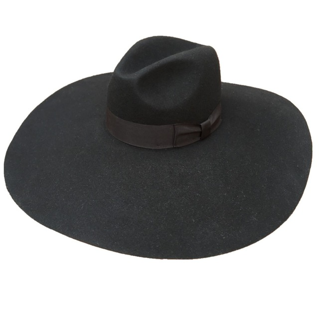 1c59dfb32c574 Lã chapéu De Feltro preto Macio Extra Grande Grande Aba do Chapéu Fedora  Moda Para As