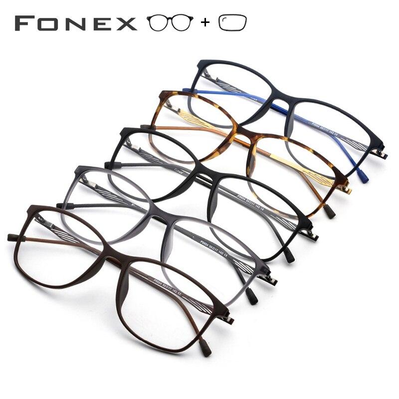 TR90 alliage optique cadre hommes carré myopie oeil verre lunettes coréen sans vis lunettes Prescription lunettes - 5