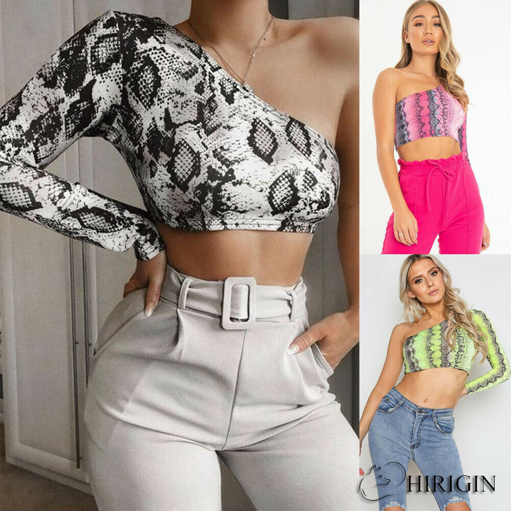 Hirigin Sexy   Tank     Top   2019 New Fashion Women One Shoulder Crop   Top   Push up Snake Print Clothes Ladies Clubwear Clothing