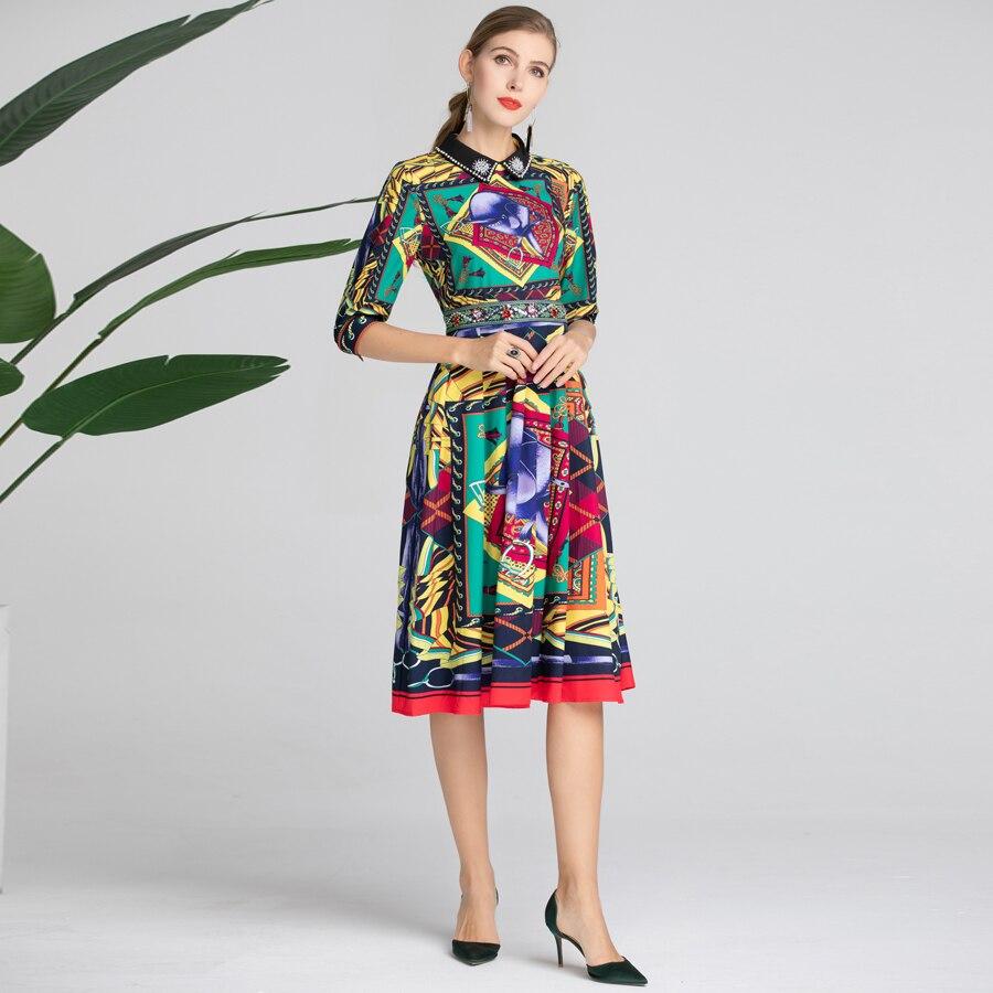 Slim Demi Designer Piste Multi Robes Eté Imprimer Femmes Manches Mode Robe 2019 Perles Élégant Printemps Nouvelle Goodlishowsi tqzOwHz
