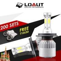 Акция 400 шт. H4 H7 светодиодные фары лампы для авто туман лампа 8000lm 12 в 80 Вт автомобиля свет подарок Бесплатная COB 6000 К