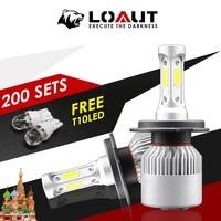 Promotion 400 Pieces H4 H7 LED Headlight Light Bulbs for Auto Fog Lamp 8000lm 12V 80W Car Light Bulb Gift Free COB 6000K