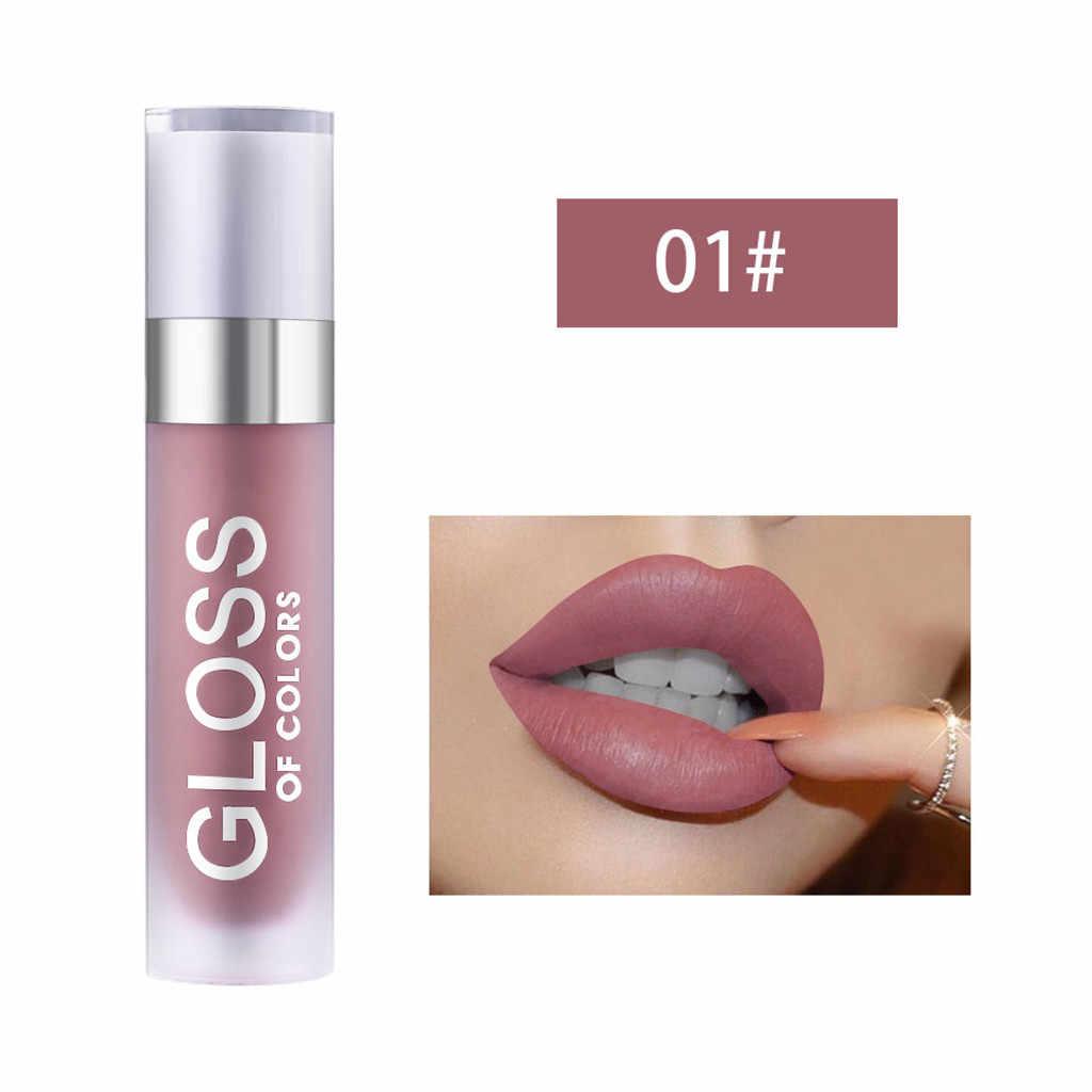חדש נשים יופי שפתונים מט Llipstick שנמשך קטיפה שפתיים גוון כתם שפות איפור יום הולדת מהדורת אוסף LipglossF6.18
