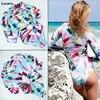 Long Sleeves One Piece Swimsuit Women 2018 Retro Print Floral Swimwear Hot Rash Guard Beach Surfing