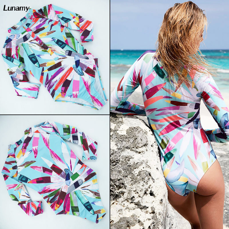 Long Sleeves One Piece Swimsuit Women 2018 Retro Print Floral Swimwear Hot Rash Guard Beach Surfing Diving Swim Bathing Suit