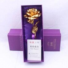 크리 에이 티브 선물 로즈 에뮬레이트 된 꽃 24 k 골드 호 일 로즈 발렌타인 데이 선물 단일 골드 도금 장미 꽃다발 상자 골드 호 일 꽃