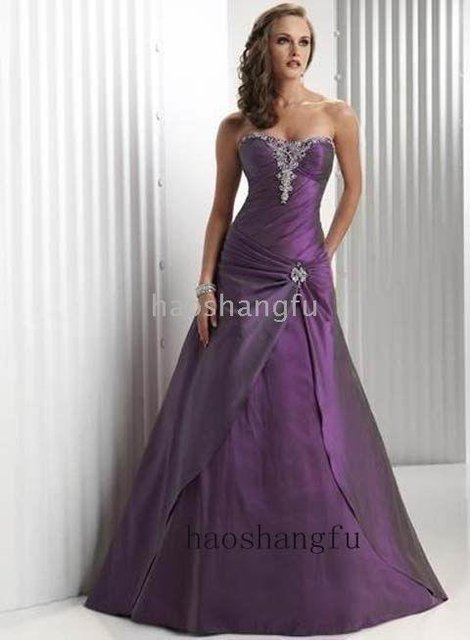 Purple Taffeta Silver Embroidery Wedding dress Wedding Gown-in ...