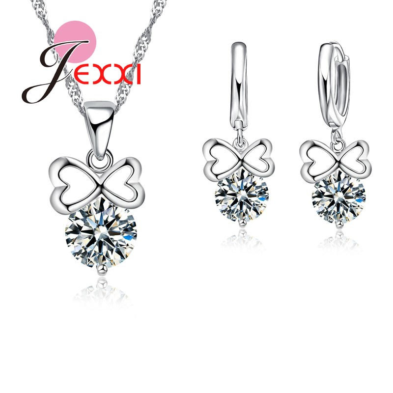 JEXXI Wholesale font b Fashion b font Wedding Bands Bridal Jewellery Sets For Women Bow Design