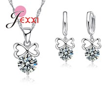 JEXXI Wholesale Fashion Wedding Bands Bridal Jewellery Sets For Women Bow Design Necklaces Earrings Cubic Zircon Crystal Set
