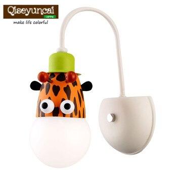 Qiseyuncai Children room cartoon wall lamp creative boy girl bedroom energy saving warm with switch wall lamp