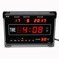 Large Digital Alarm Clock with Calendar Temperature for Bedroom Desktop LED Display Electronic Table Clock Big Desk Watch Red
