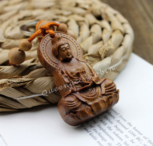 Wood Carving Chinese Buddhism Guan Kwan Yin Buddha Statue Pendant Key Chain