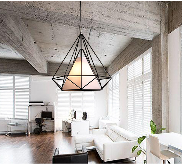 Modern birdcage pendant light diamond iron minimalist retro light modern birdcage pendant light diamond iron minimalist retro light scandinavian loft pyramid lamp metal cage cafe bar lighting in pendant lights from lights mozeypictures Image collections