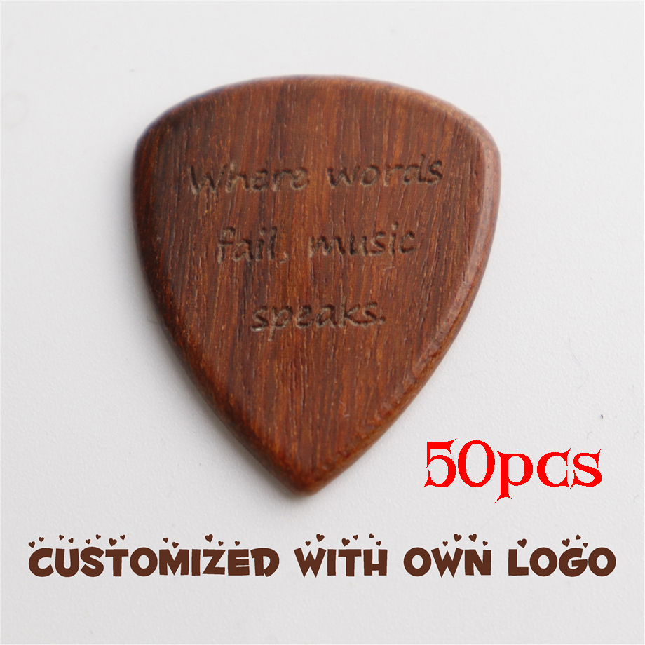 50pcs Wood Guitar Pick Engraved personalized Electric Bass Plectrum Musical Instrument Guitar Parts & Accessories Customized