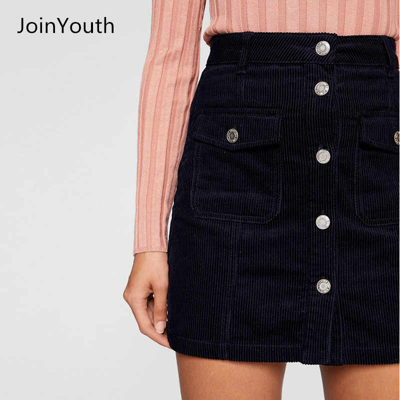 c23048edb JoinYouth Women Autumn Winter Black Button Corduroy Skirt Lady's Bodycon A  Line High Waist Pencil Casual