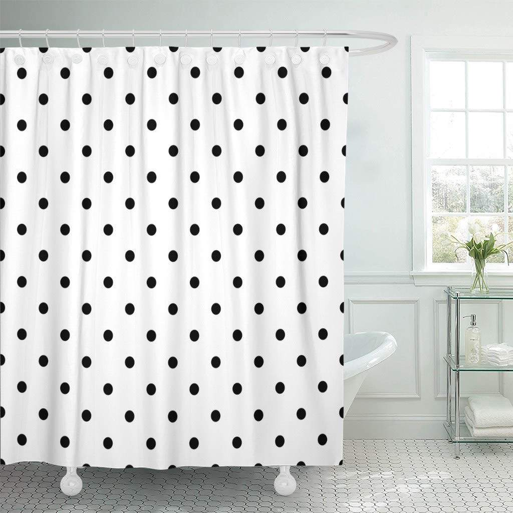 Shower Curtain With Hooks Small Pattern With Pink Polka Dots On