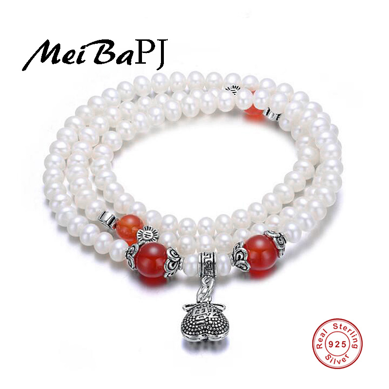 [MeiBaPJ] 48cm Thai Silver Bracelet Natural Pearl Red stone Bracelet for Women Chinese Characteristics Blessing Bangle [meibapj] 48cm thai silver bracelet natural pearl red stone bracelet for women chinese characteristics blessing bangle