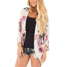 Sexy Women floral Chiffon Geometry Loose Shawl Kimono Cardigan Boho Coat Jacket Blouse Swimwe Beach Cover Up blouse dress18AUG29(China)