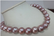 DYY+++817  Genuine Natural 12-14mm south seas pink purple Pearl necklace 18inch
