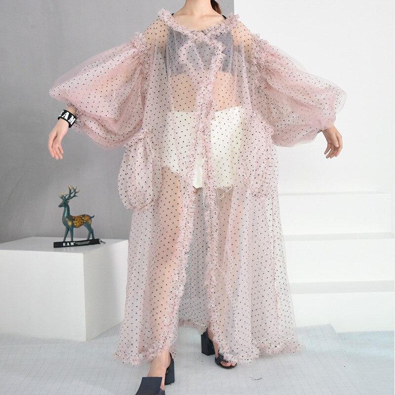 Été nouvelles femmes Maxi crème solaire chemises INS populaire manches bouffantes Kimono haut en maille pure Dobby Beachwear couverture Yops femme Blusas