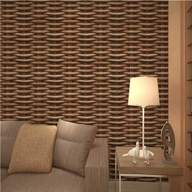 Free Shipping 3D Stereo Chinese Simulation Rattan Wallpaper Imitation Weave Pattern Restaurant Teahouse