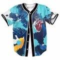 Batimentos cardíacos átrio esquerdo órgão botões dos homens homme jérsei de basebol camisa 3d streetwear tees camisas hip hop marca clothing