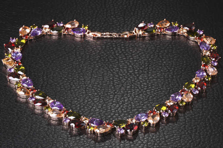 FYM Mona Lis Hohe Qualität Luxus Zirkonia Bunte Stein Halsketten Rose Gold Farbe Geschenke Schmuck für Frauen Party