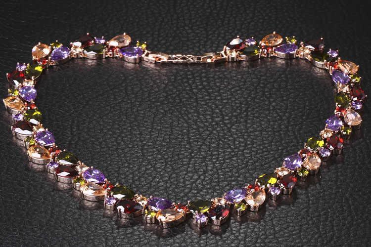 FYM המונה ליס באיכות גבוהה יוקרה מעוקב Zirconia אבן צבעונית שרשראות רוז צבע זהב תכשיטים לנשים מפלגה מתנות
