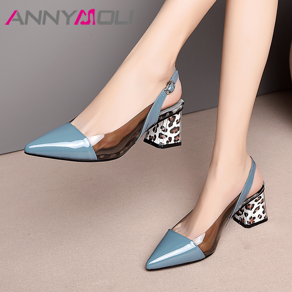 ANNYMOLI High Heels Women Slingbacks Shoes Natural Genuine Leather Thick High Heel Shoes Transparent Buckle Pumps Ladies Size 41Womens Pumps   -