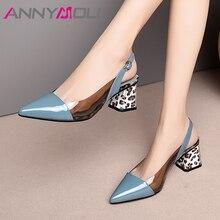 Annymoli 하이힐 여성 slingbacks 신발 자연 정품 가죽 두꺼운 하이힐 신발 투명 버클 펌프 숙녀 크기 41