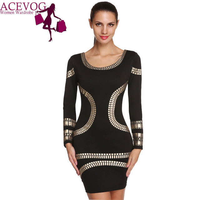 b6a6c1b2971 ACEVOG Fashion Geometric Party Dresses Casual Long Sleeve Office Lady Slim  Bandage Bodycon Dress Women Autumn Winter Clothing