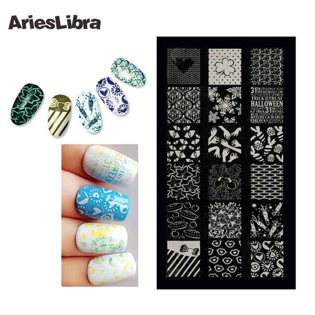 Nail Art St&ing Plates Sets Stainless Steel DIY Manicure Nail Polish Print St&s For Nails Stencil  sc 1 st  AliExpress.com & Nail Art Stamping Plates Sets Stainless Steel DIY Manicure Nail ...