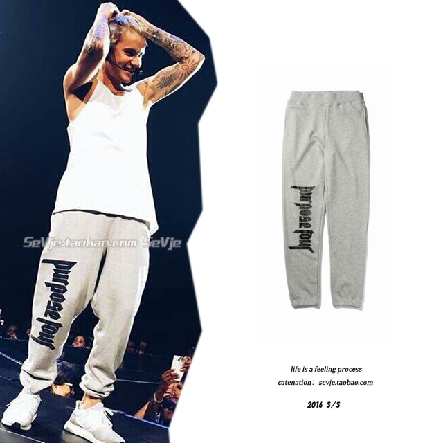 Mens Hip Hop  Sweatpants Purpose Tour Letters Printing Justin Bieber Stage Outfits  Style Grey Joggers