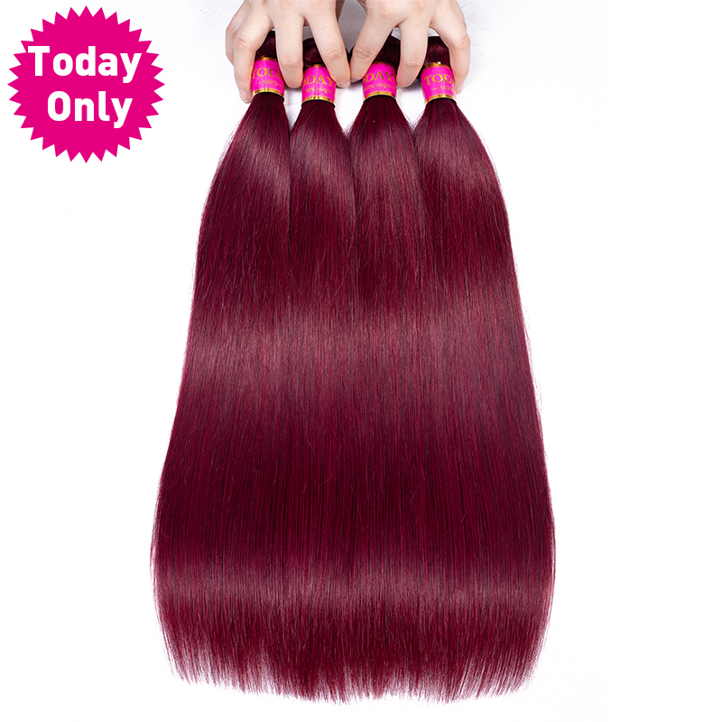 TODAY ONLY Burgundy 3  4 Bundles Peuvian Straight Hair Bundles Real Remy Human Hair Extensions 99J Peruvian Human Hair Bundles
