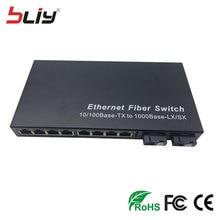 Lan switch de 10 puertos 10/100/1000 Mbps Gigabit Ethernet de Fibra Óptica Media convertidor de fibra Monomodo 8 RJ45 UTP y 2 SC puerto
