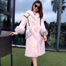 Nerazzurri rosa casaco de pele do falso com capuz inverno kawaii longo retalhos coelho casaco de pele feminino elegante plus size falso outwear
