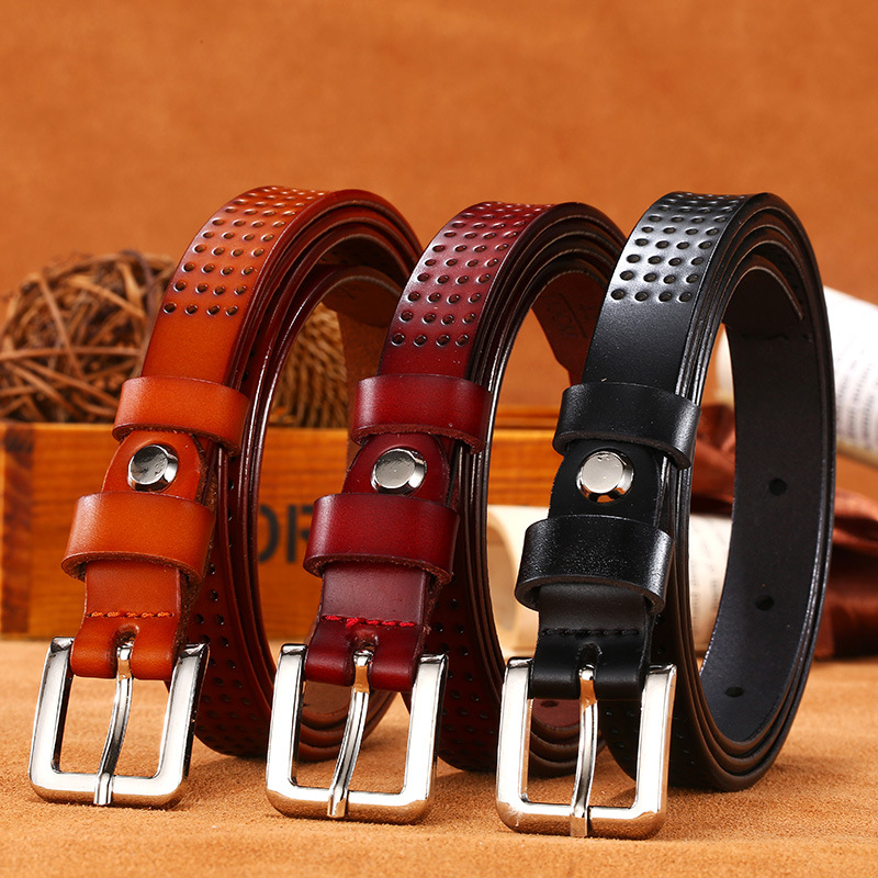 Leather Womens Belts,Smooth Buckles Waistband,Ladies Leather Waist Belt All-match Fine Belt Leisure Jeans