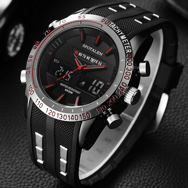 Men Sport Watch Relogio Masculino Electronic Military Luxury LED Male Clock Casual Brand dual display Wrist Watches For Men XFCS